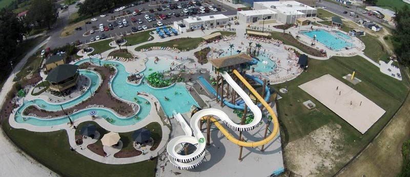 Aerial view of Lions Water Adventure Park with slides and pools