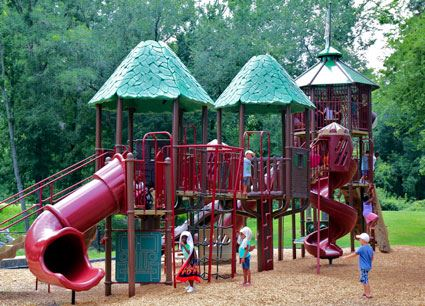 A large red playground.